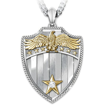 Necklace: Free Because Of The Brave - Shield Diamond Pendant Necklace