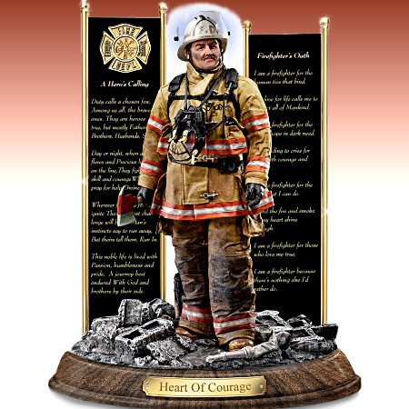 Heart Of Courage - A Tribute To Firefighter Sculpture