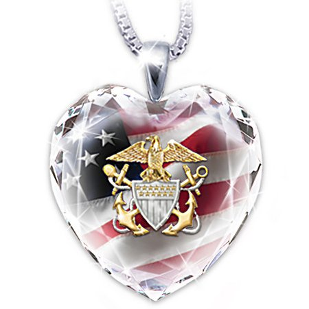 U.S. Navy Crystal Heart-Shaped Pendant Necklace