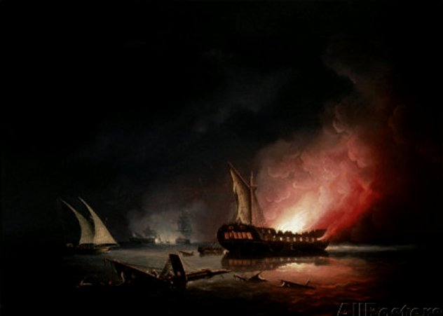 A Frigate on Fire after a Battle, 1835 by Thomas Buttersworth