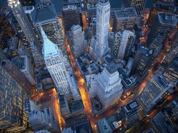 Aerial View of Wall Street, New York, Art Print
