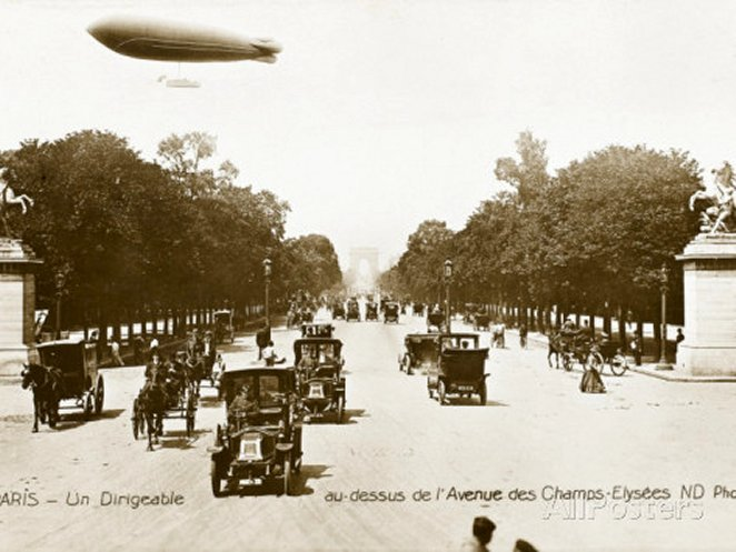 Airship over the Champs Elysees, Paris