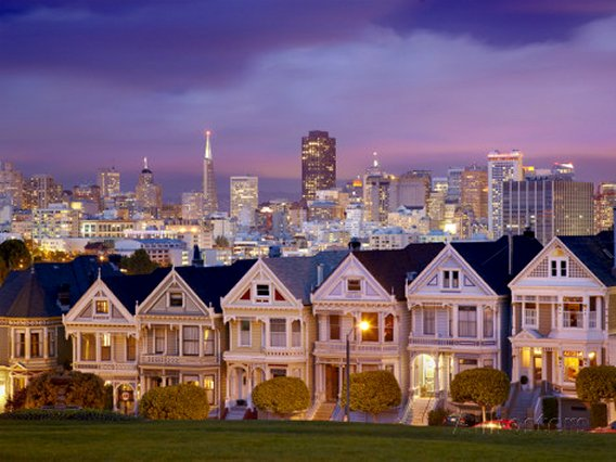 Alamo Square and the Victorian Style Painted Ladies Homes, San Francisco, California