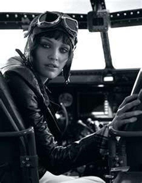 Amelia Earhart in her Plane