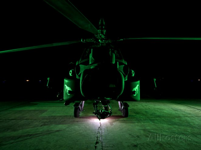 An AH-64D Apache Helicopter at Night