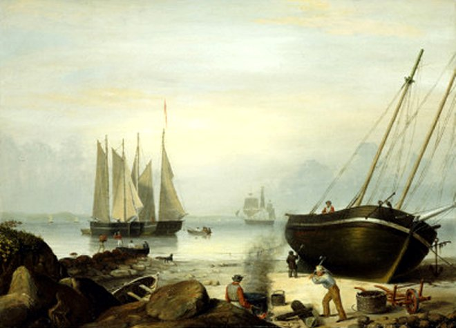 Beached for Repairs, Duncan's Point, Gloucester, 1848by Fitz Henry Lane