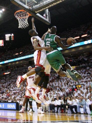 Boston Celtics v Miami Heat - Game Five, Miami, FL - MAY 11: Kevin Garnett and Joel Anthony