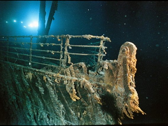 Bow Railing of RMS TITANIC Illuminated by Mir 1 Submersible