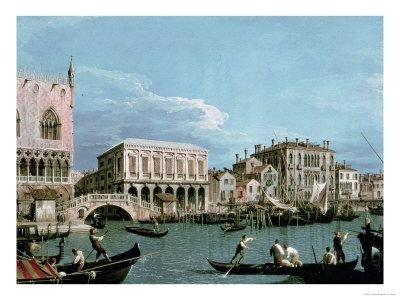 Bridge of Sighs, Venice (la riva degli schiavoni) circa 1740 - by Canaletto