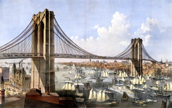 Brooklyn Bridge, Connecting the Cities of New York and Brooklyn, by Currier and Ives