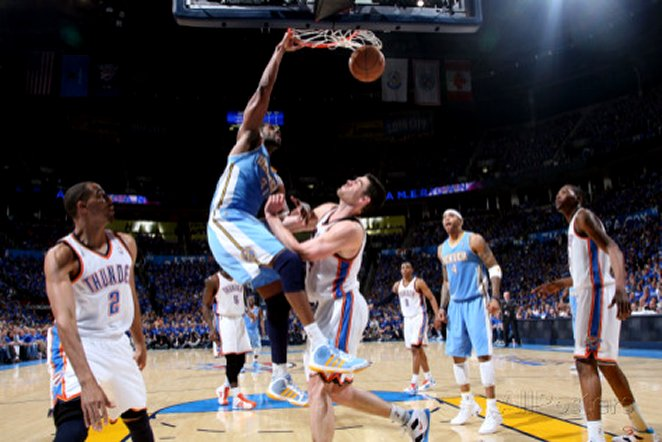 Denver Nuggets v Oklahoma City Thunder - Game One, Oklahoma City, OK - April 17: Nene Hilario and N