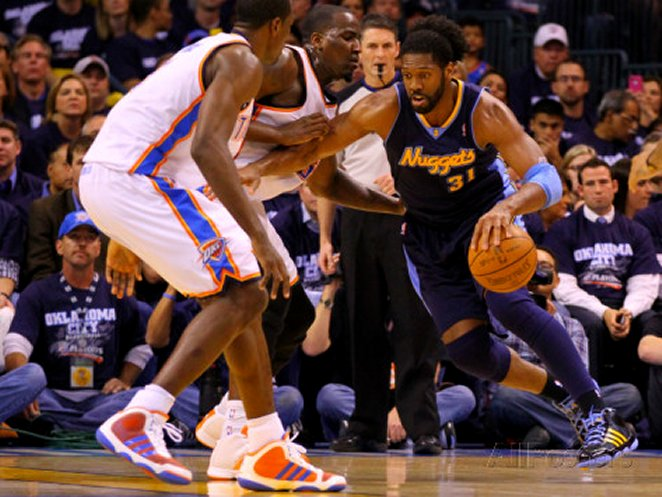 Denver Nuggets v Oklahoma City Thunder - Game Five, Oklahoma City, OK - APRIL 27: Nene Hilario