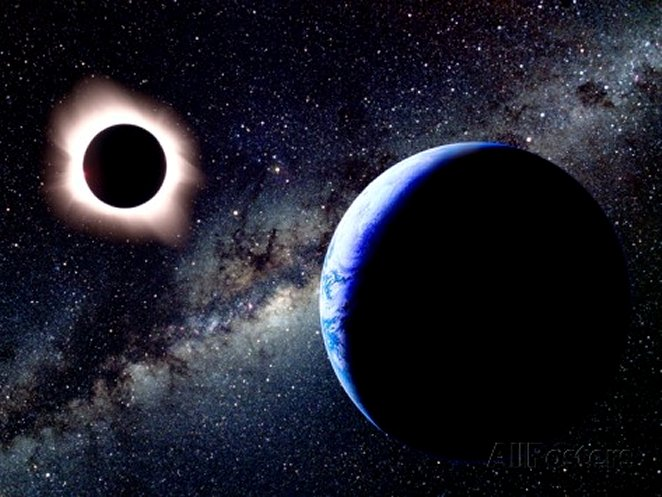 Earth and Total Eclipse Seen from Space