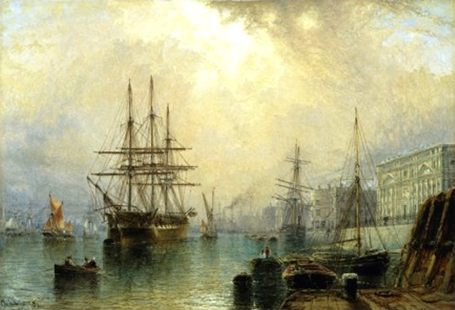 H.M.S. War Sprite off Greenwich, London, by Claude T. Stanfield Moore