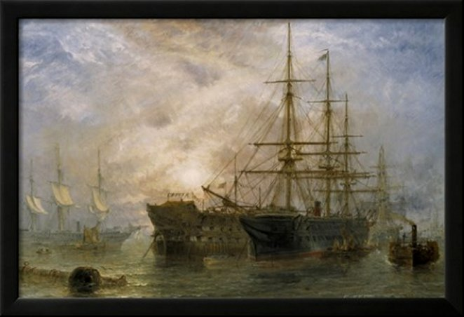 Her Majesty's Troop Ships receiving Stores in Portsmouth Harbour, 1880 by Claude T. Stanfield Moore, Art Print