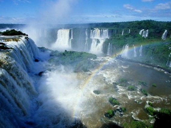 Iguazu Waterfalls and Rainbow, Argentina, Art Print