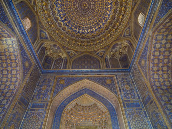 Interior of Tilla Kari Medressa at Registan, UNESCO World Heritage Site, Uzbekistan, Central Asia