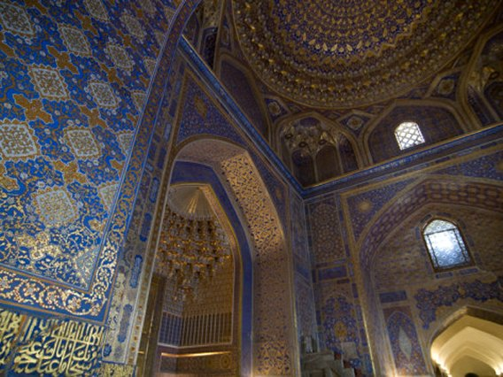 Interior of Tilla Kari Medressa at Registan, UNESCO World Heritage Site, Uzbekistan