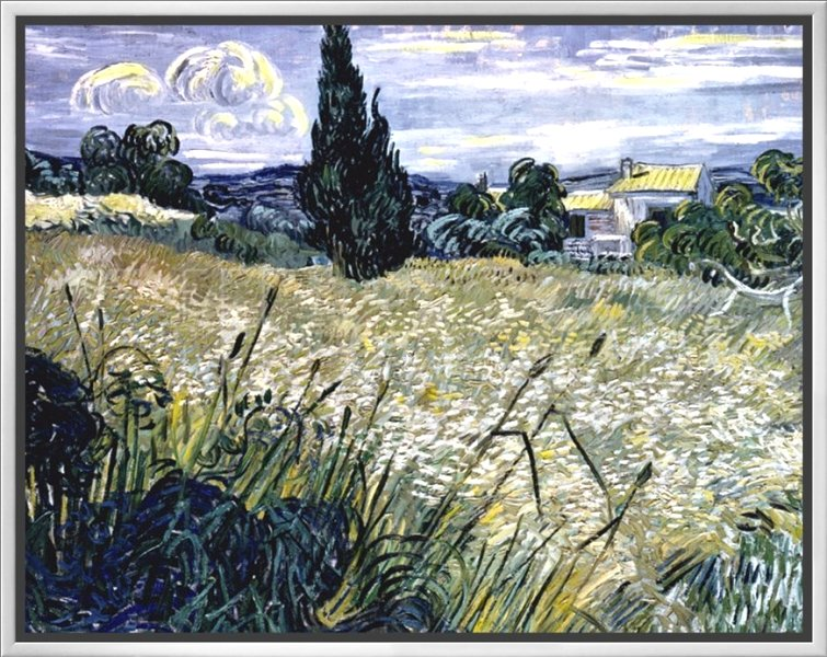 Landscape with Green Corn by Vincent van Gogh - Stroked Canvas Print
