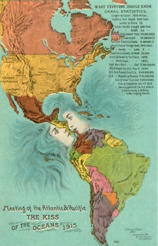 Map of the Americas - Opening of the Panama Canal