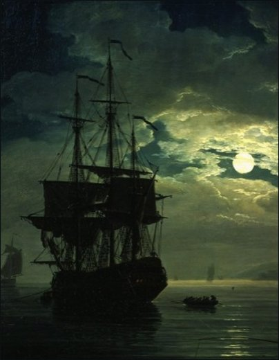 La Nuit Un Port De Mer Au Clair De Lune (Night Sea Port in Moon Light), 1771 (Detail) by Claude Josep Vernet