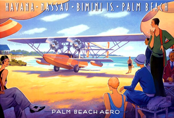 Palm Beach Aero - Framed Canvas Print