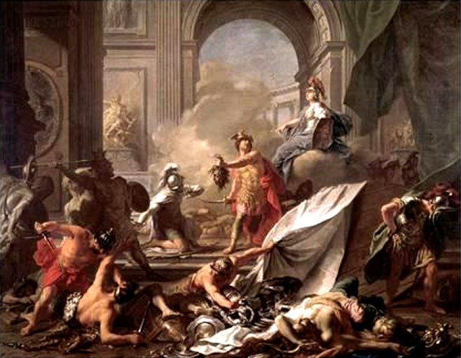 Perseus Under the Protection of Minerva Turns Phineus to Stone by Brandishing the Head of Medusa - by Jean Marc Nattier