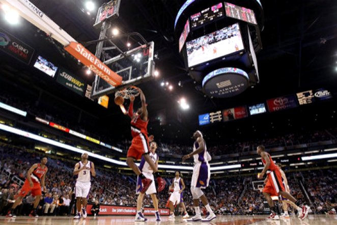 Portland Trail Blazers v Phoenix Suns: LaMarcus Aldridge and Hedo Turkoglu