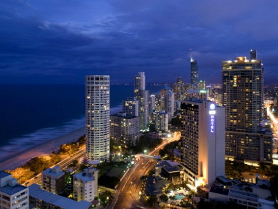 Queensland, Gold Coast, Surfer's Paradise, Evening View of Surfer's Paradise Highrises, Australia