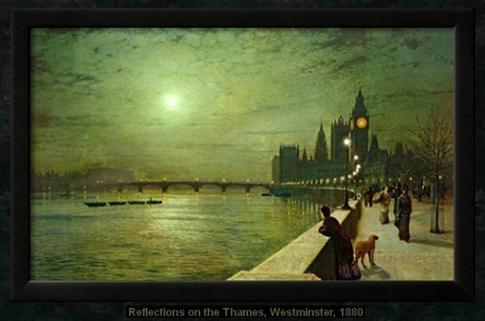 Reflections on the Thames, Westminster 1880 by John Atkinson Grimshaw