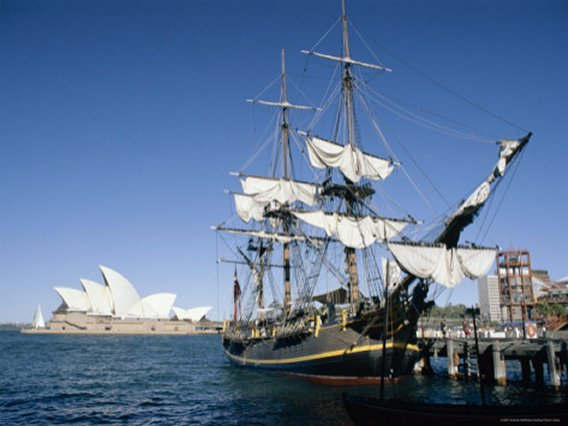 Replica of H.M.S. Bounty and Sydney Opera House, Sydney, New South Wales (N.S.W.), Australia