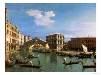 The Rialto Bridge, Venice, Italy - by Canaletto