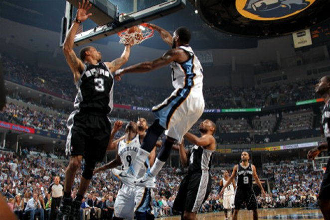 San Antonio Spurs v Memphis Grizzlies - Game Four, Memphis, TN - APRIL 25: O.J. Mayo and George Hil
