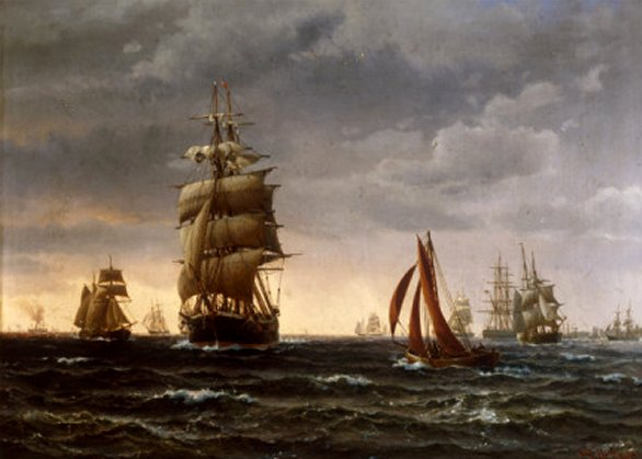 Shipping in a Choppy Sea, 1850 by Wilhelm Melbye