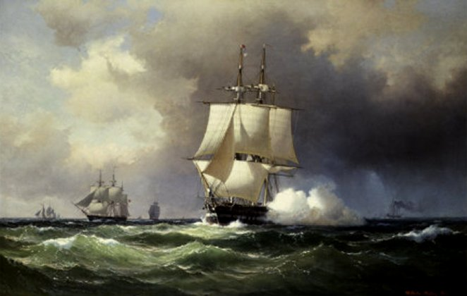Square Riggers on the Open Sea by Wilhelm Melbye