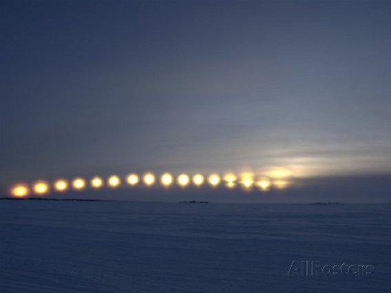 Sun Movement from Dettah Ice Road, Yellowknife, Northwest Territories, Canada