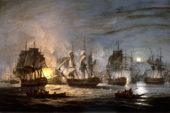 The Battle of the Nile, August 1st 1798, painted 1830 by Thomas Luny - art print