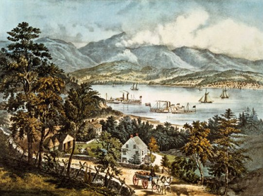 The Catskill Mountains from the Eastern Shore of the Hudson by Currier & Ives