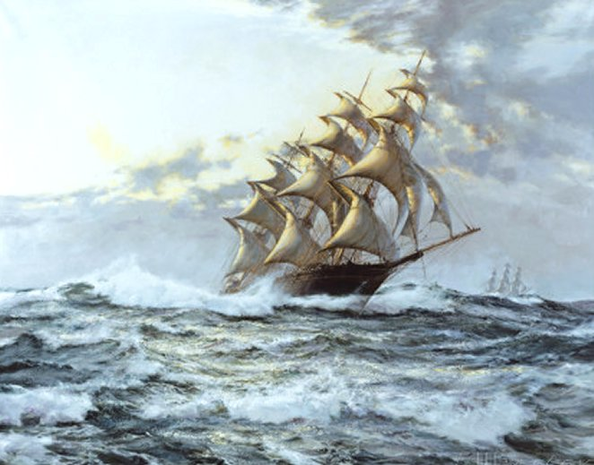 The 'Lightning' by Montague Dawson