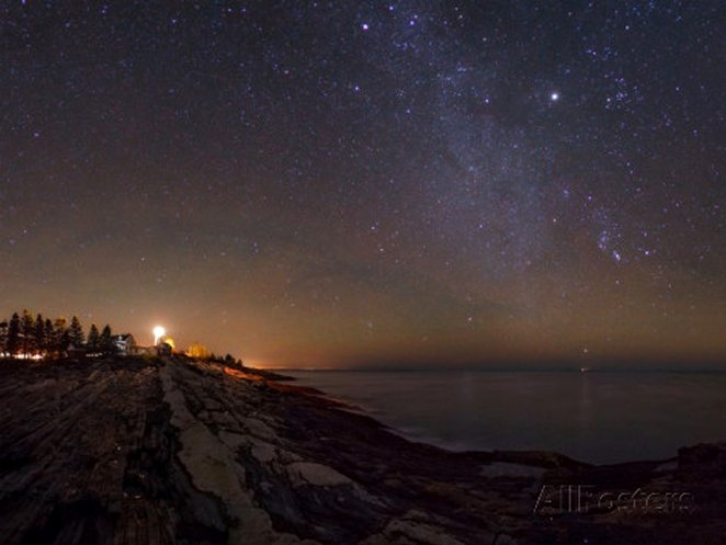 The Milky Way Photographed over the Atlantic. the Pemaquid Point Light Is on the Left. By Babak Tafreshi