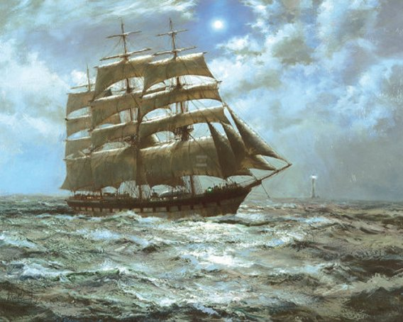 The Silver Moon by Montague Dawson