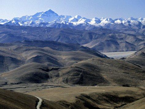 Tibet Landscape Looking Towards Nepal, Art Print