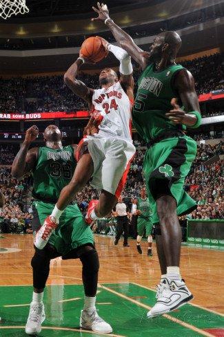 Toronto Raptors v Boston Celtics: Sonn Weems and Kevin Garnett