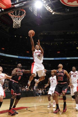Chicago Bulls v Toronto Raptors: Luol Deng, DeMar DeRozan and Taj Gibson