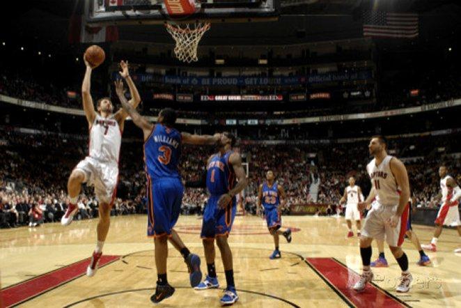 New York Knicks v Toronto Raptors: Andrea Bargnani and Shawne Williams