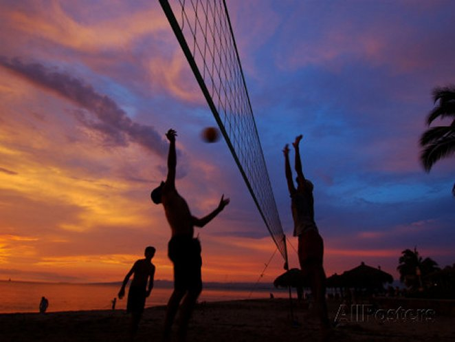 Volleyball on Playa de Los Muertos at Sunset, Mexico