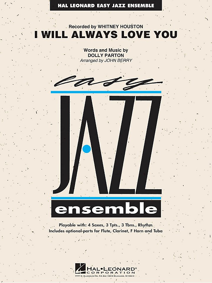 Hal Leonard - Whitney Houston - I Will Always Love You - Easy Jazz Ensemble Series Level 2