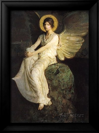 Winged Figure Seated Upon a Rock, 1900 by Abbott Handerson Thayer