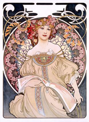 Vintage Art Print, Art Deco Lady by Alphonse Mucha