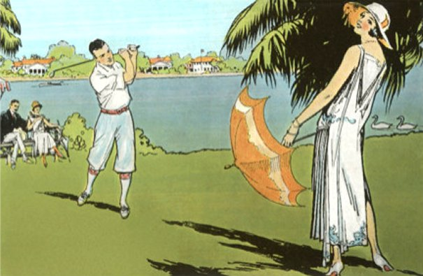 Golfer and Lady with Umbrella